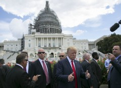 UNITED STATES - September 9: Republican presidential candidate Donald Trump gives a thumbs up before speaking at a rally organized by Tea Party Patriots on Capitol Hill in Washington, Wednesday, Sept. 9, 2015, to oppose the Iran nuclear agreement. (Photo By Al Drago/CQ Roll Call)