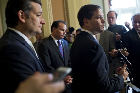 Cruz, left, and Rubio, right, are both first-term senators, but Rubio enjoys more establishment support.  (Tom Williams/CQ Roll Call File Photo)