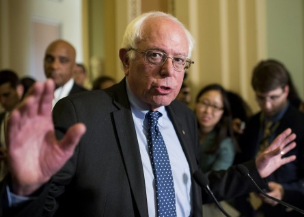 Sanders addressed reporters Tuesday in the Ohio Clock Corridor. (Bill Clark/CQ Roll Call)