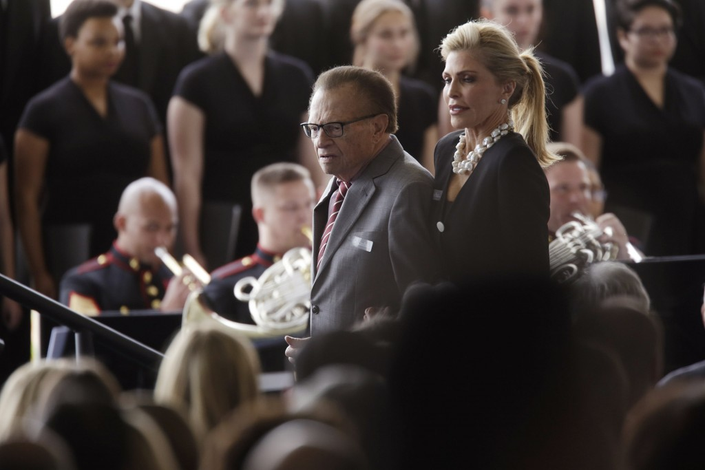 SIMI VALLEY CA MARCH 11: Larry King and his wife Shawn King arrive for funeral services being held for former first lady Nancy Reagan at the Ronald Reagan Presidential Library March 11, 2016 in Simi Valley. Mrs Reagan will be buried next to her husband on the property. (Photo by Irfan Khan-Pool/Getty Images)