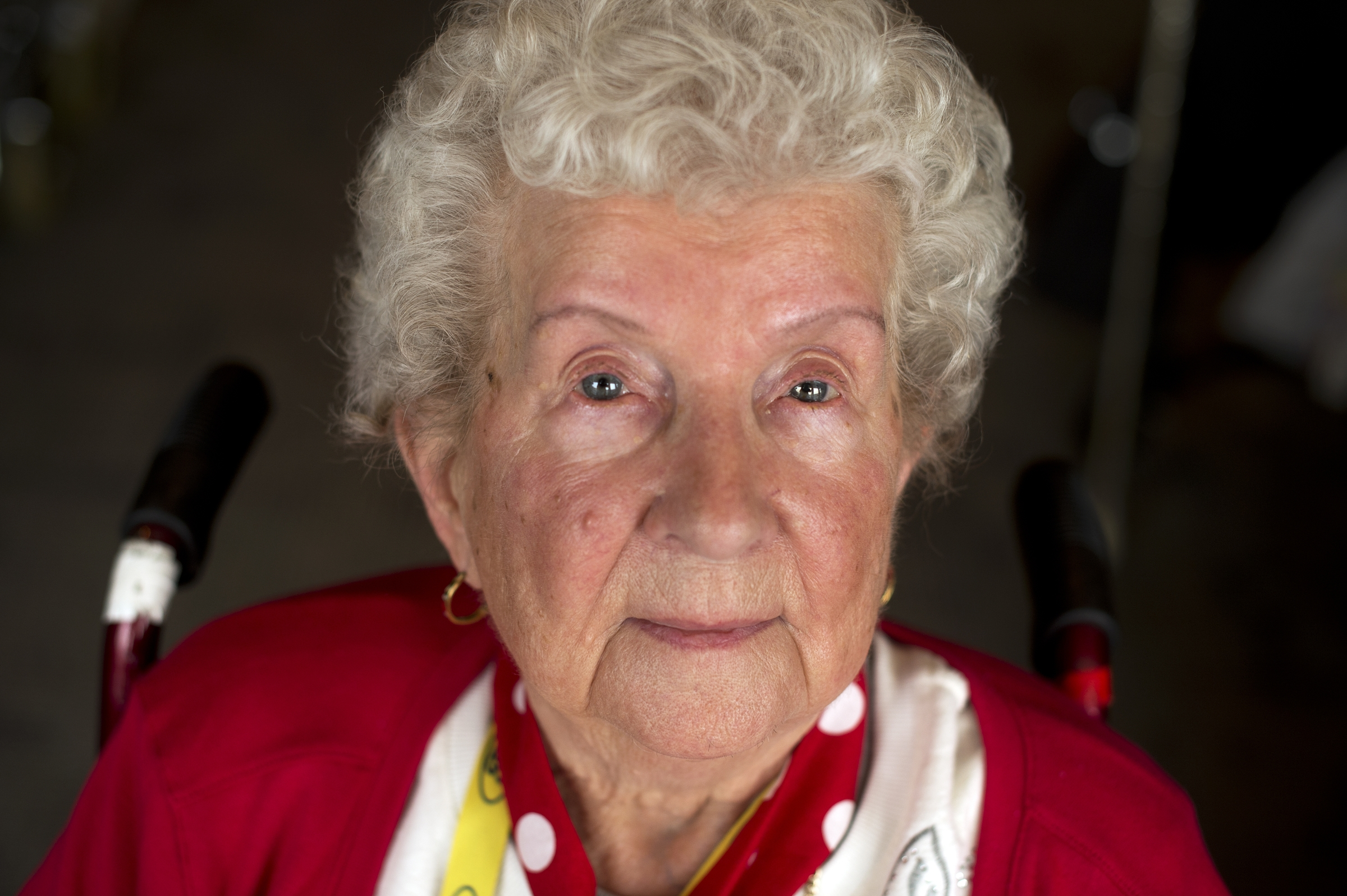 UNITED STATES - MARCH 22: Stella Sarnacki, a World War II era Rosie the Riveter, is photographed during a lunch for a group of about 30 Rosies at the Library of Congress, March 22, 2016. They were part of an Honor Flight from Detroit who were on a tour of D.C. that included stops on Capitol Hill, the World War II Memorial, and Arlington National Cemetery. (Photo By Tom Williams/CQ Roll Call)