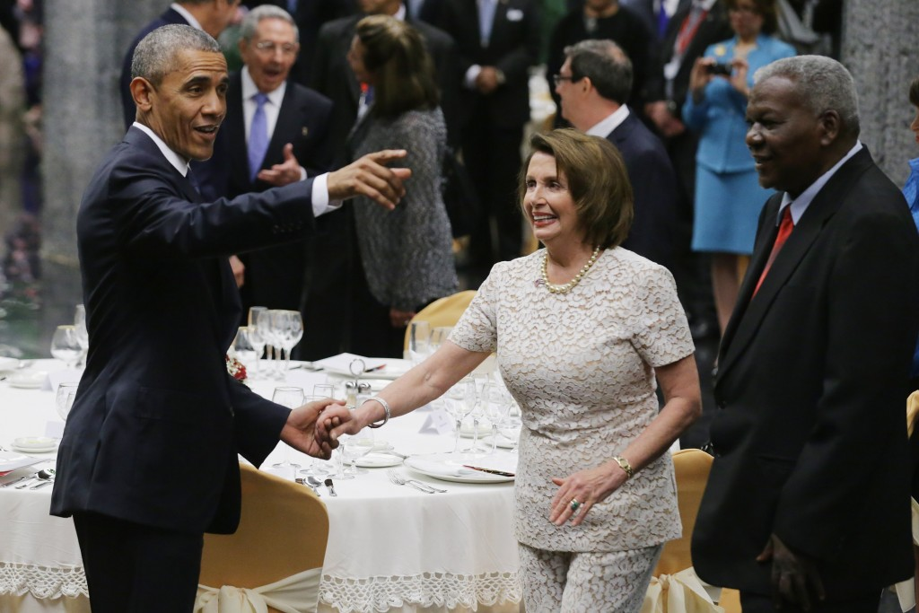 Barack Obama and Nancy Pelosi in Cuba. (Photo by Chip Somodevilla/Getty Images)