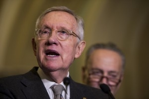 UNITED STATES - DECEMBER 15: Senate Minority Leader Harry Reid, D-Nev., speaks to reporters after the Senate Democrats' lunch in the Capitol on Tuesday, Dec. 15, 2015. (Photo By Bill Clark/Roll Call)