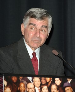 WESTWOOD, CA - MARCH 12: Former Presidential canidate Michael Dukakis speaks at the HBO Documentary Films Premiere of ''Addiction'' at the Hammer Museum on March 12, 2007 in Westwood, California. (Photo by Stephen Shugerman/Getty Images)