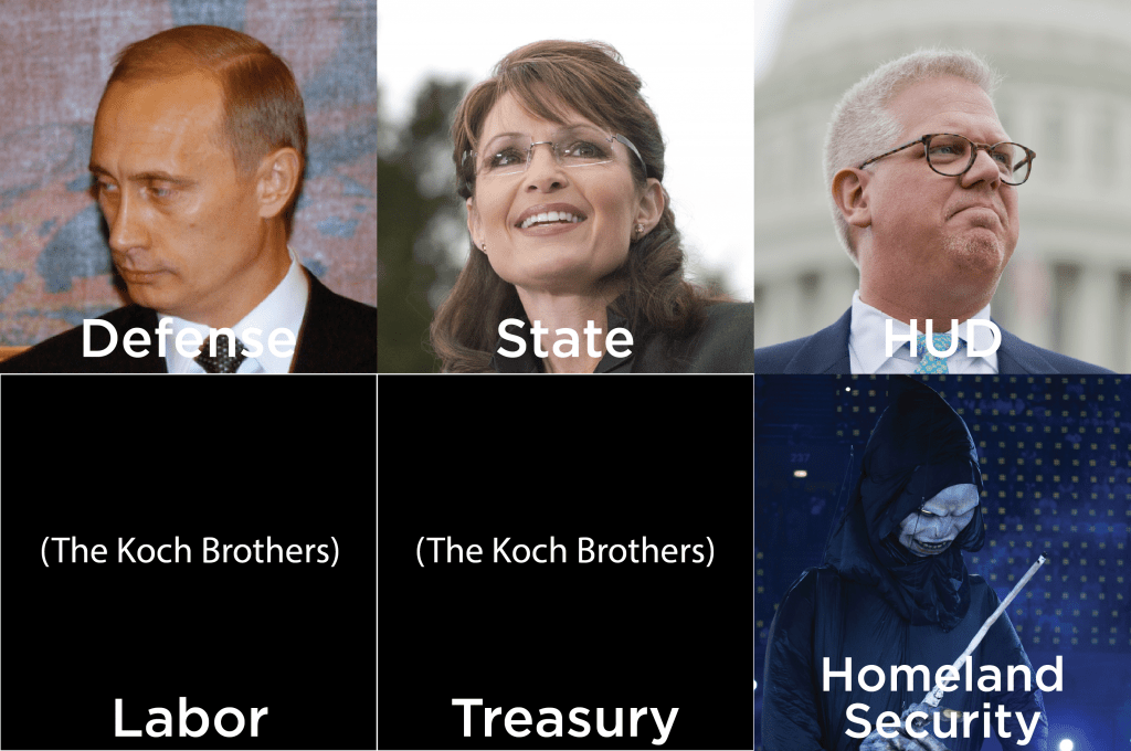 Clockwise from top left: Vladimir Putin, Sarah Palin, Glenn Beck, Voldemort, The Koch Brothers (Credit: CQ Roll Call, Getty Images)