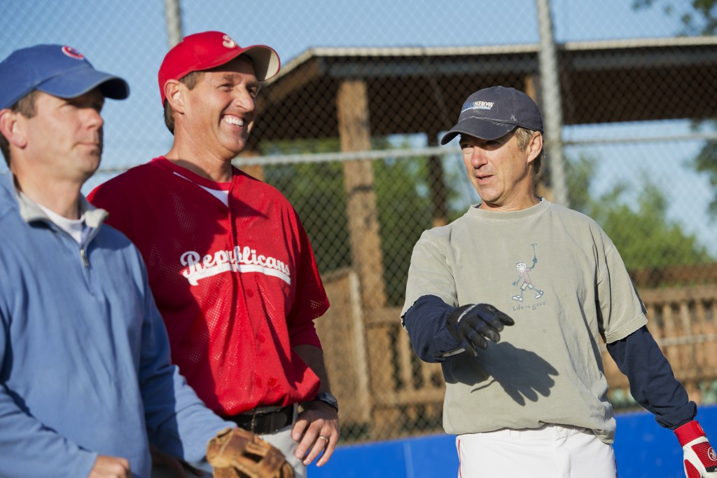 From left, Illinois Rep. Robert J. Dold, and Sens. Jeff Flake of Arizona and Rand Paul of Kentucky attend Republican baseball practice in 2015. (Tom Williams/CQ Roll Call File Photo)
