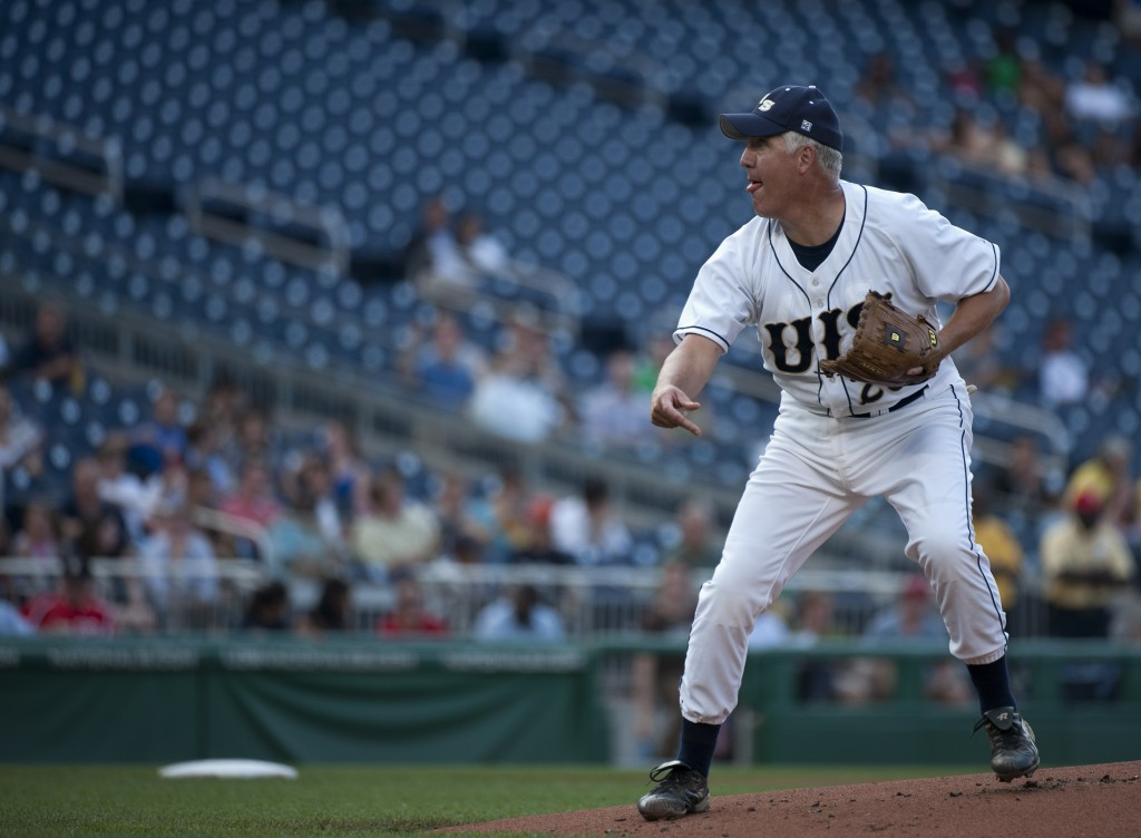 Illinois Rep. John Shimkus pitches during the 49th Annual Roll Call Congressional Baseball Game in 2010. (CQ Roll Call file photo)