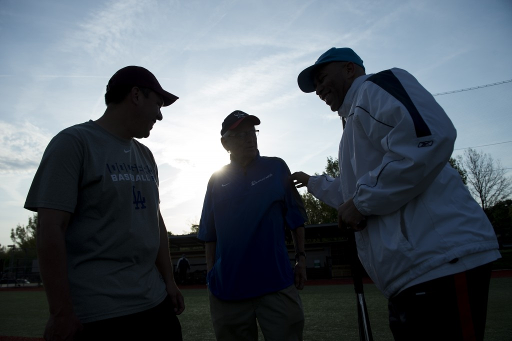 From left, Rep. Pete Aguilar, D-Calif., Rep. Bill Pascrell, D-N.J., and Rep. Hakeem Jeffries, D-N.Y., huddle after the Democrats' baseball practice in April. (Photo By Bill Clark/CQ Roll Call File Photo)