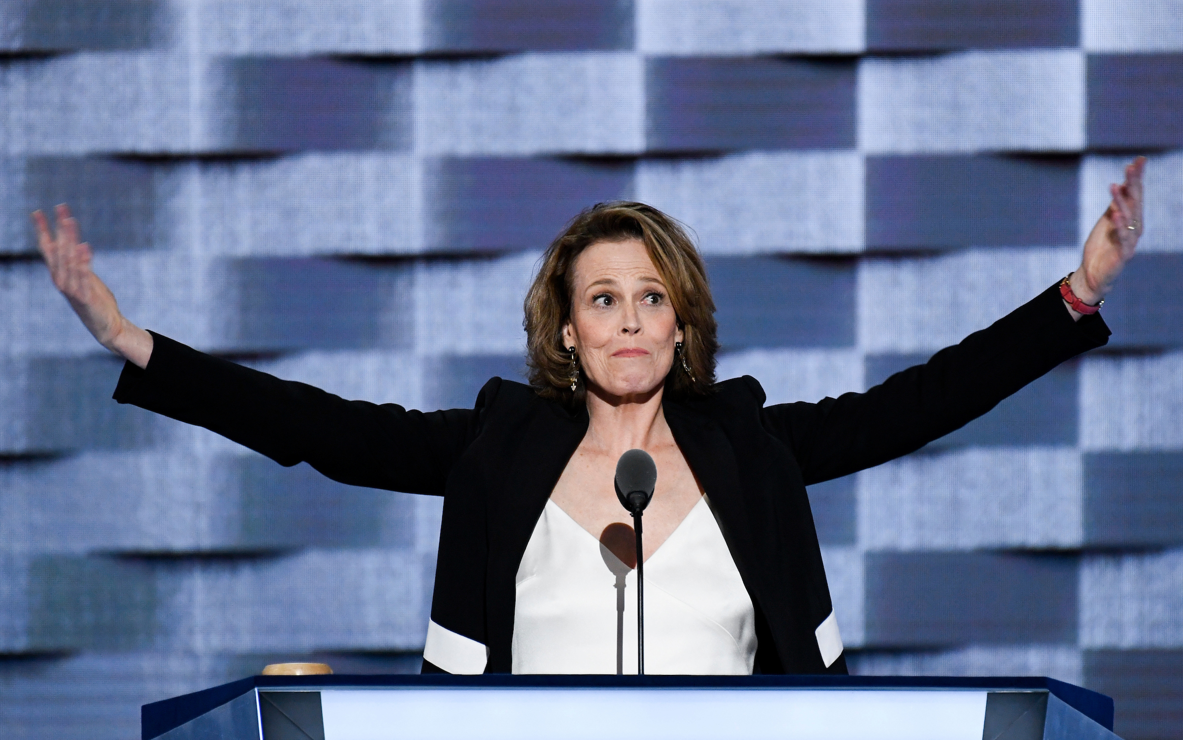 UNITED STATES - JULY 27: Actress Sigourney Weaver speaks at the Democratic National Convention in Philadelphia on Wednesday, July 27, 2016. (Photo By Bill Clark/CQ Roll Call)