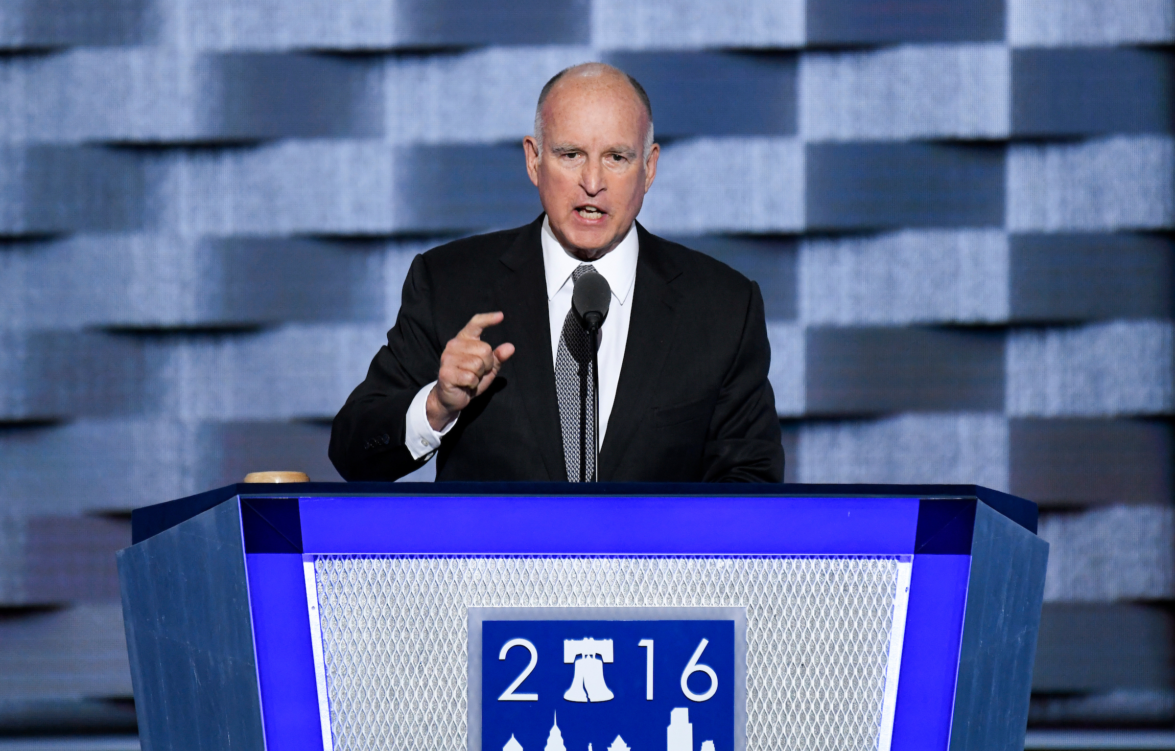 UNITED STATES - JULY 27: California Governor Jerry Brown speaks at the Democratic National Convention in Philadelphia on Wednesday, July 27, 2016. (Photo By Bill Clark/CQ Roll Call)