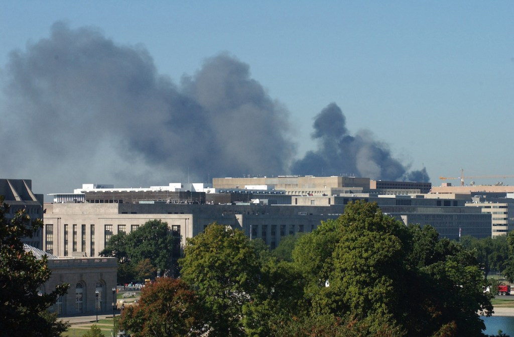 Smoke can be seen from the West Front of the U.S. Capitol after a plane crashed into the Pentagon on Sept. 11, 2001. (CQ Roll Call archive photo)