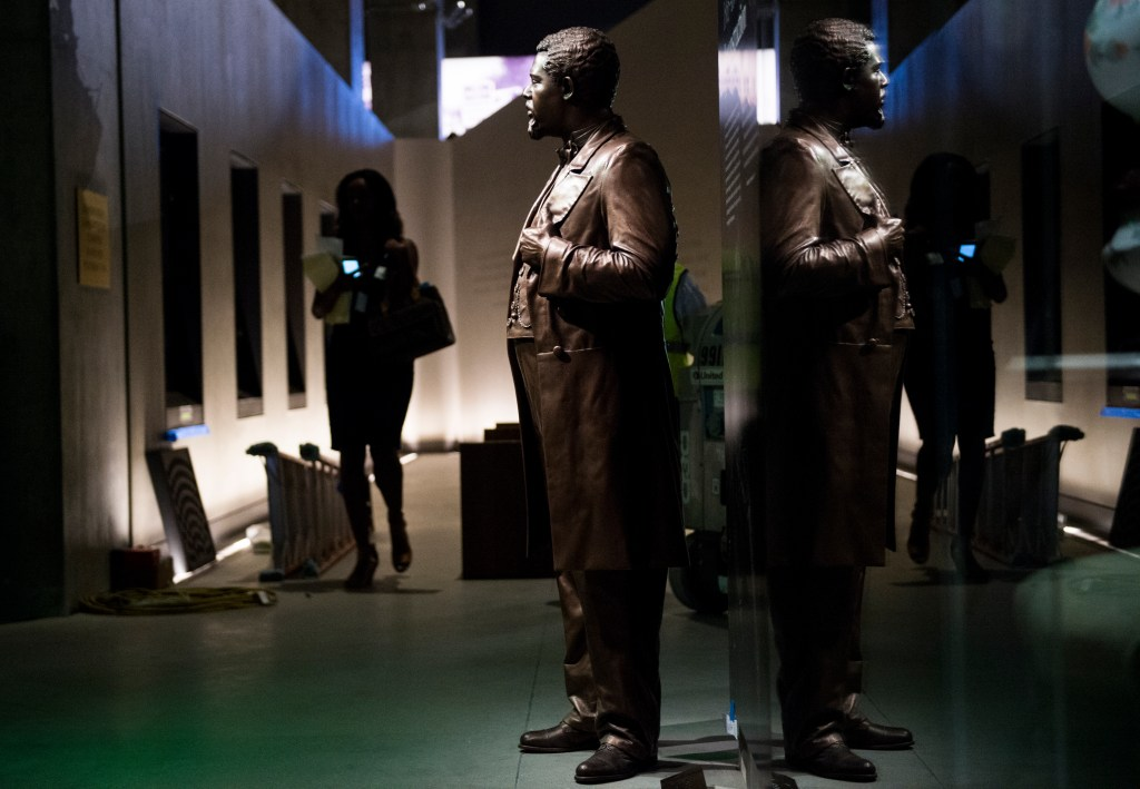 A statue of U.S. Congressman Robert Smalls stands in the National Museum of African American History and Culture as the new museum holds its media preview day on Sept. 14, 2014. Smalls was a freed slave who served in Congress from 1884 to 1887. The newest of the Smithsonian museums on the National Mall will open on Sept. 24, 2016. (Bill Clark/CQ Roll Call)