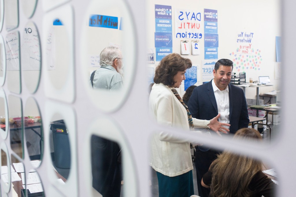 Luján visited a Las Vegas campaign office with Jacky Rosen, the Democratic House candidate in Nevada's 3rd District. (Bill Clark/CQ Roll Call)