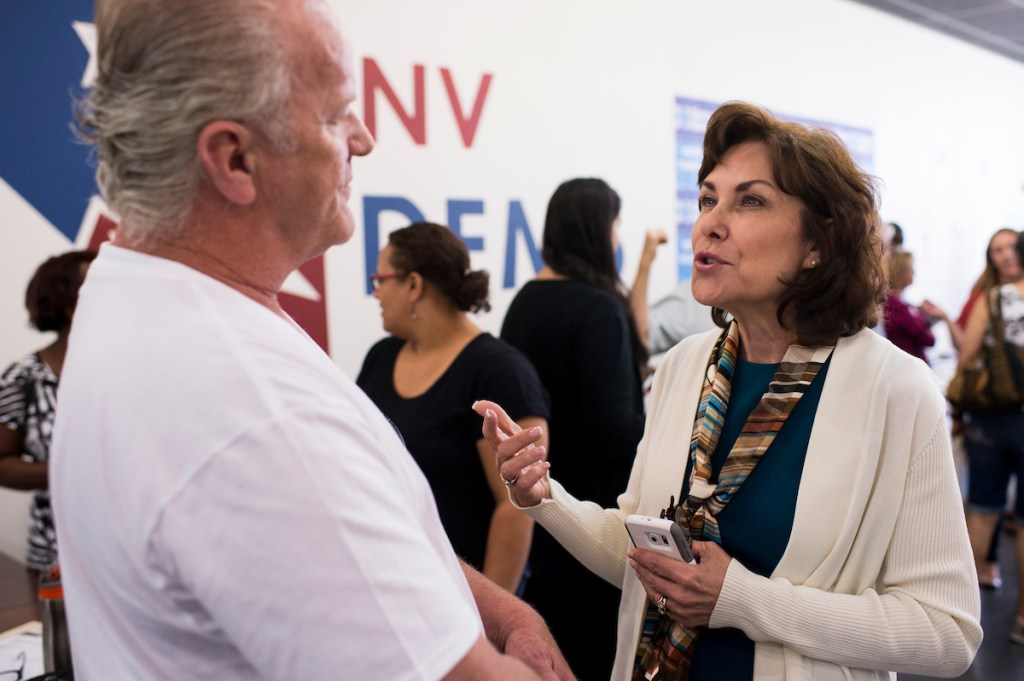 UNITED STATES - OCTOBER 18: Jacky Rosen, Democratic candidate for Nevada's 3rd Congressional district, speaks to campaign volunteers in the Nevada Democrats' field office in southwest Las Vegas on Oct. 18, 2016. (Photo By Bill Clark/CQ Roll Call)