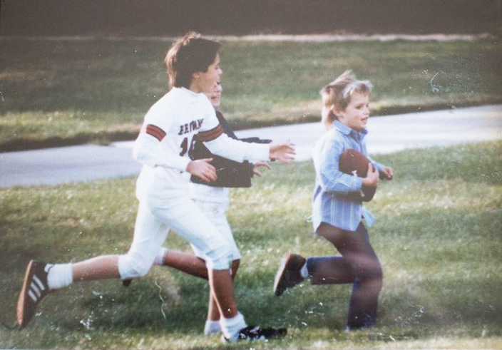 Thornton, around 4 years old, being chased during a game, in the yard of his childhood (Ohio) home. (Courtesy Patrick Thornton)
