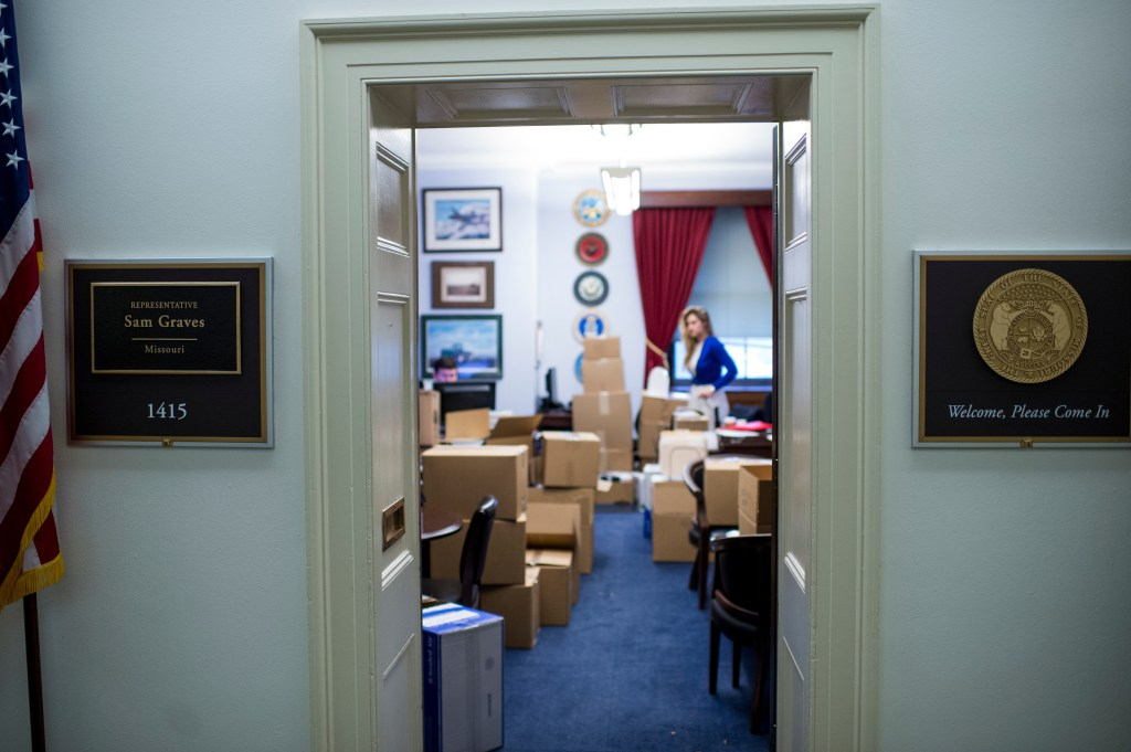 Graves' staffers work amid the moving boxes in the office.(Bill Clark/CQ Roll Call)