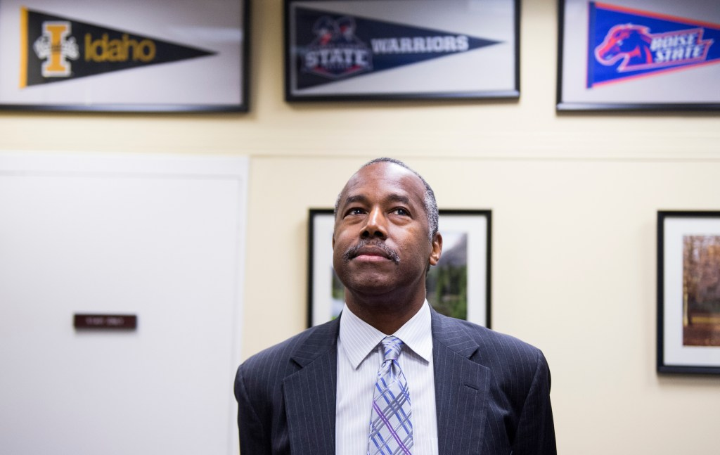 HUD Secretary nominee Ben Carson waits for his meeting with incoming Senate Banking, Housing, and Urban Affairs Committee chairman Sen. Mike Crapo, R-Idaho, in the Dirksen Senate Office Building on Wednesday, Dec. 7, 2016. (Photo By Bill Clark/CQ Roll Call)