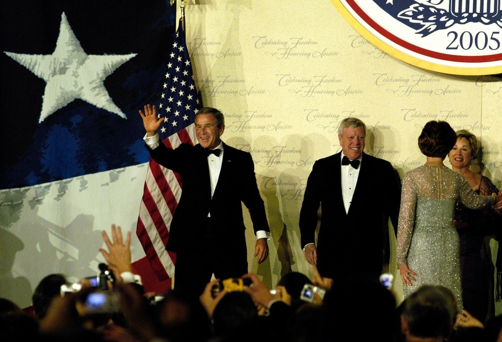 Bush celebrates the 2005 inauguration with his wife, Laura, at the Liberty Ball in Union Station in Washington. (CQ Roll Call file photo)