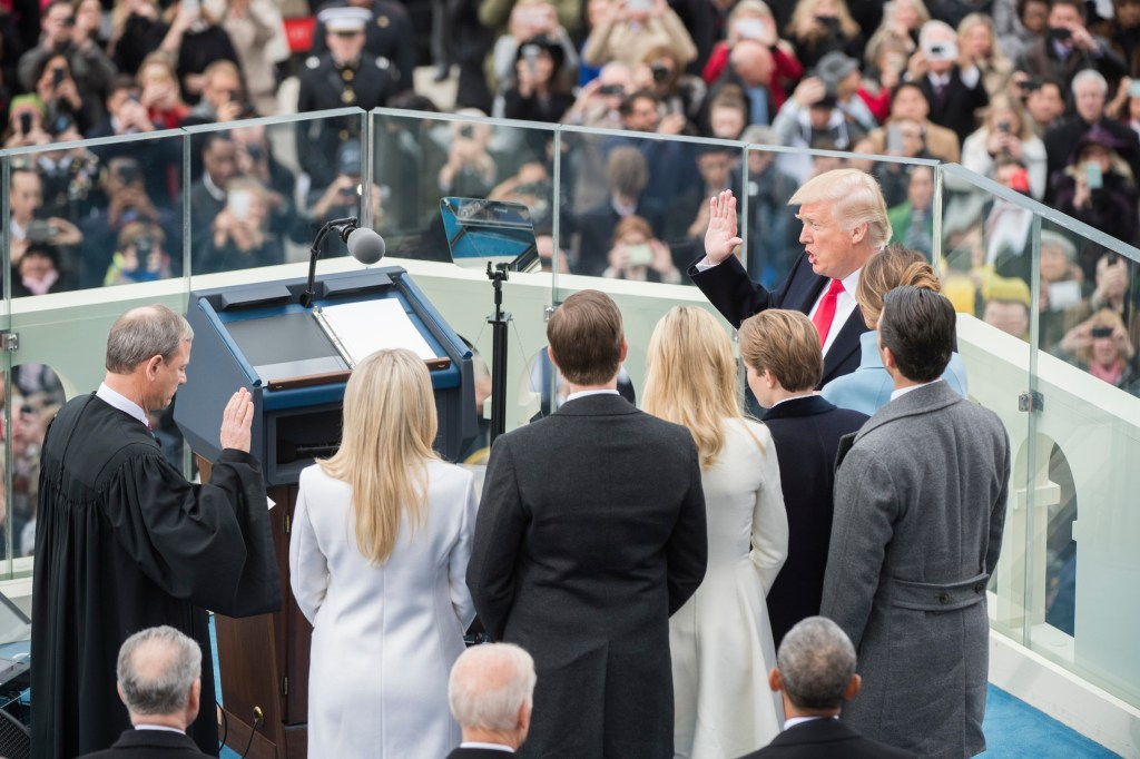 Trump is sworn in as the 45th president of the United States by Chief Justice John G. Roberts Jr. on the West Front of the Capitol. (Tom Williams/CQ Roll Call)