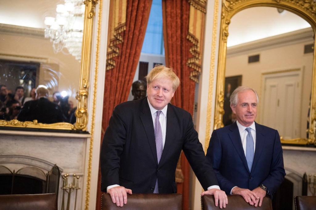 British Foreign Secretary Boris Johnson meets with Senate Foreign Relations Committee Chairman Bob Corker, R-Tenn., in the Capitol on Monday. (Tom Williams/CQ Roll Call)