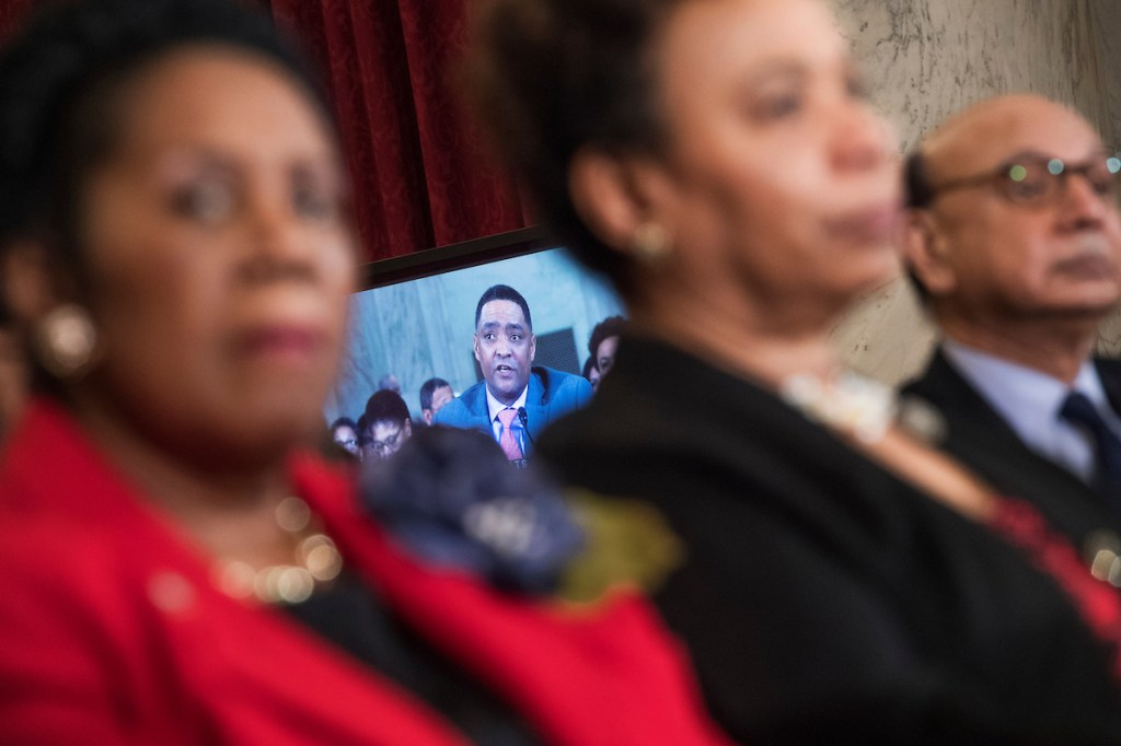 Rep. Cedric Richmond, D-La., testifies against the nomination of Sessions for attorney general. Looking on are Reps. Sheila Jackson Lee, D-Texas, Barbara Lee, D-Calif., and Khizr Khan, father Army Captain Humayun Khan who was killed in 2004 in Iraq. (Tom Williams/CQ Roll Call)