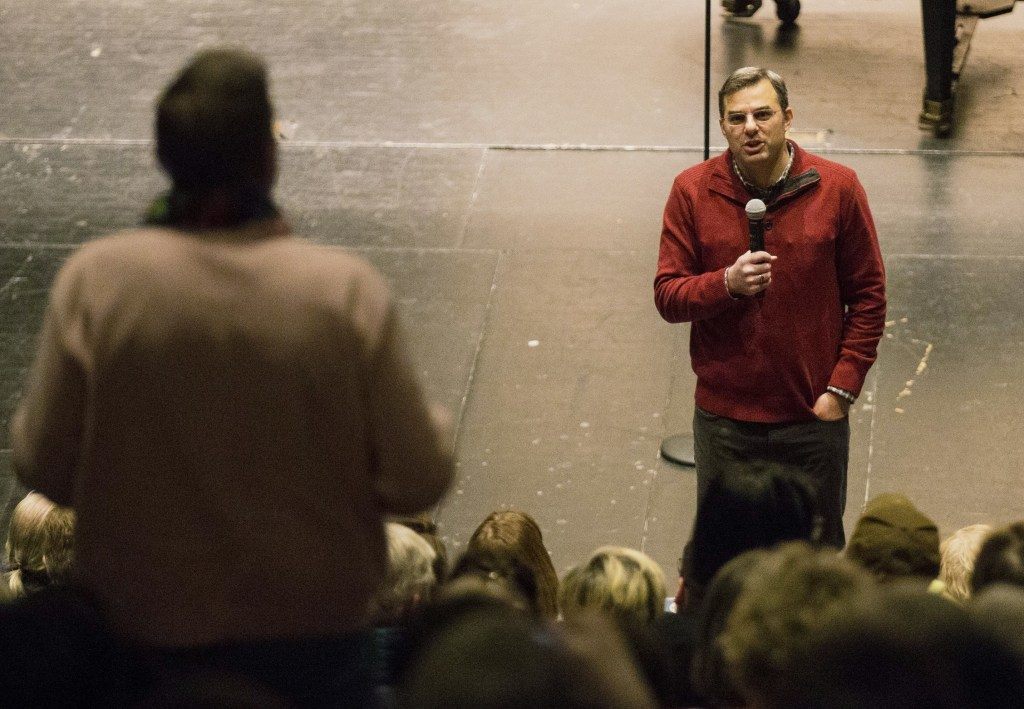Republican Rep. Justin Amash responds to an audience question during a town hall meeting at City High Middle School in Grand Rapids, Mich., on Feb. 9. (Mike Clark/The Grand Rapids Press via AP)