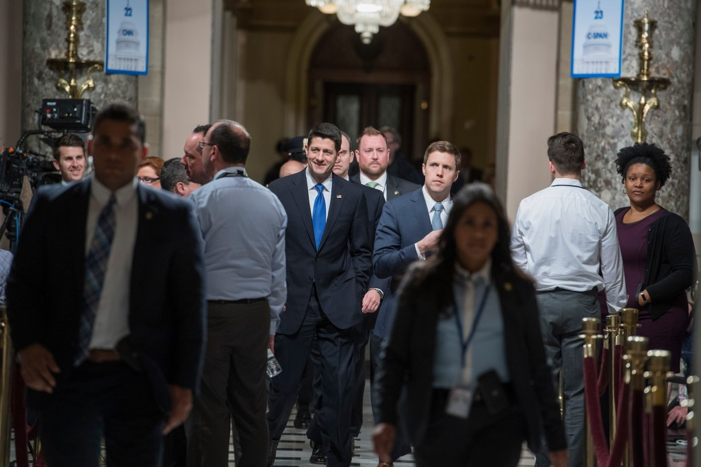 Speaker Paul D. Ryan, R-Wis., makes his way through Statuary Hall before President Donald Trump addressed a joint session of Congress in the Capitol. (Tom Williams/CQ Roll Call)