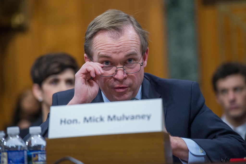 UNITED STATES - JANUARY 24: Rep. Mick Mulvaney, R-S.C., nominee to be director of the Office of Management and Budget, testifies during his Senate Budget Committee confirmation hearing in Dirksen Building, January 24, 2017. (Photo By Tom Williams/CQ Roll Call)