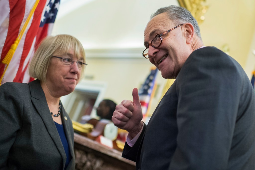 UNITED STATES - FEBRUARY 09: Senate Minority Leader Charles Schumer, D-N.Y., and Sen. Patty Murray, D-Wash., conduct a news conference in the Capitol to speak out against labor secretary nominee Andy Puzder, CEO of CKE Restaurants, February 9, 2017. (Photo By Tom Williams/CQ Roll Call)
