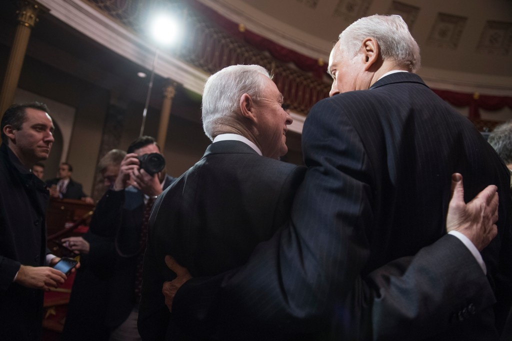 UNITED STATES - FEBRUARY 09: Attorney General Jeff Sessions, left, greets Sen. Orrin Hatch, R-Utah, during a mock swearing-in ceremony for Sen. Luther Strange, R-Ala., in the Capitol's Old Senate Chamber, February 9, 2017. Strange filled Sessions' senate seat. (Photo By Tom Williams/CQ Roll Call)