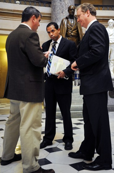 Thornell with Van Hollen and then-Roll Call reporter Paul Kane. (Tom Williams/CQ Roll Call File Photo)