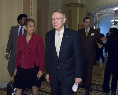 Norton, left, reluctant to criticize Reid, right, for stalling on local judicial nominations. (CQ Roll Call File Photo)