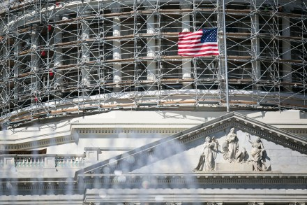 Flags on the Capitol grounds flew at half staff Friday. (Al Drago/CQ Roll Call)