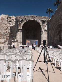 Mission San Juan Capistrano in Orange County, California, has the last remaining intact place of worship where Serra celebrated mass. Attendees watched the canonization at a viewing party (Courtesy of Mission San Juan Capistrano)