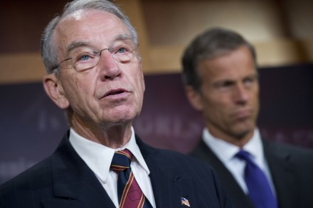 ry Chairman Charles Grassley, R-Iowa, conduct a news conference in the Capitol introducing the