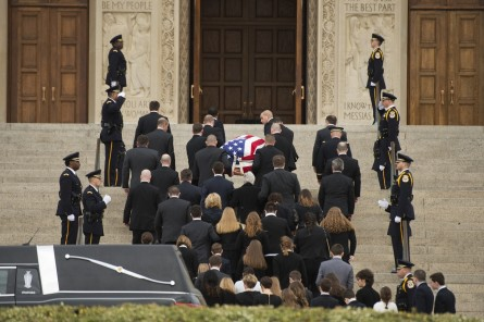 UNITED STATES - FEBRUARY 20: The casket containing the body of the late Supreme Court Justice Antonin Scalia is carried into the Basilica of the National Shrine of the Immaculate Conception for his funeral mass, February 20, 2016. Members of his family are seen following. (Photo By Tom Williams/CQ Roll Call)