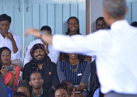 Obama answers a question from a participant about decriminalizing marijuana during a town hall meeting with young leaders at the University of the West Indies in Kingston.  (Mandel Ngan/Getty Images)