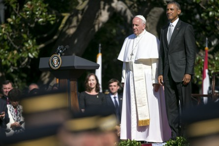 Pope Francis stands with President Barack Obama during a state arrival ceremony Wednesday on the South Lawn of the White House. (Al Drago/CQ Roll Call)