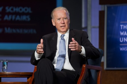 UNITED STATES - OCTOBER 20: Vice President Joe Biden participates is discussion as part of a tribute to former Vice President Walter Mondale at George Washington University's Jack Morton Auditorium, October 20 2015. The event was part of day long series of talks about policy and the vice presidency hosted by GW and the University of Minnesota's Humphrey School of Public Affairs. (Photo By Tom Williams/CQ Roll Call)