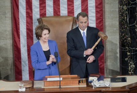 Speaker John A. Boehner, R-Ohio, received the gavel from Minority Leader Nancy Pelosi, D-Calif., on the first day of the 113th Congress. (Chris Maddaloni/CQ Roll Call)