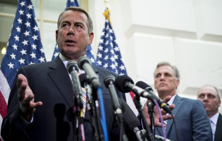 UNITED STATES - JULY 9: Speaker of the House John Boehner, R-Ohio, with House Majority Leader elect Kevin McCarthy, R-Calif., and House Majority Whip elect Steve Scalise, R-La., looking on, speaks during the House GOP leadership media availability after the House Republican Conference meeting in the basement of the Capitol on Wednesday, July 9, 2014. (Photo By Bill Clark/CQ Roll Call)