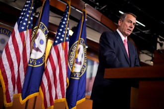 Boehner, R-Ohio, conducts his weekly news conference in the Capitol Visitor Center, March 19, 2015. (Photo By Tom Williams/CQ Roll Call) boehner008_031915.JPG
