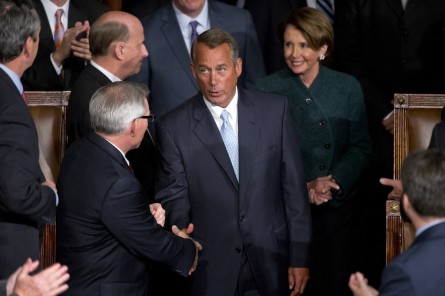 Boehner, R-Ohio, Minority Leader Nancy Pelosi, D-Calif., and other leadership are introduced before the 114th Congress was sworn in on the House floor, January 6, 2015. (Photo By Tom Williams/CQ Roll Call) Copyright 2015 CQ-Roll Call, Inc.