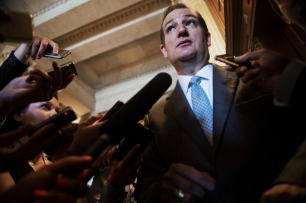 Cruz, R-Texas, talks with reporters after voting against cloture on the Trade Promotion Authority bill, June 23, 2015. (Photo By Tom Williams/CQ Roll Call)