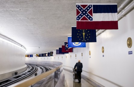 The Mississippi state flag hangs in the hallway along the Senate subway on the U.S. Capitol grounds. (Bill Clark/CQ Roll Call)