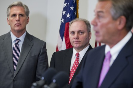 he top three Republicans in the House — from right, Boehner, Scalise and McCarthy — made it clear they intend to pass TPA, with or without the underlying TAA.  (Tom Williams/CQ Roll Call)