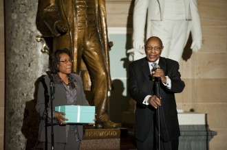 Fudge and Stokes appeared at a Congressional Black Caucus anniversary reception in Statuary Hall in 2011. (Scott J. Ferrell/CQ Roll Call File Photo)