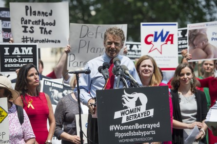 UNITED STATES - JULY 28: Sen. Rand Paul, R-Ky., speaks at a mid-day rally outside the U.S. Capitol on Tuesday, July 28, 2015, in support of defunding Planned Parenthood. During the rally, Sen. Paul announced a commitment from Senate leadership for a vote on his legislation to defund Planned Parenthood prior to the August recess.   (Photo By Bill Clark/CQ Roll Call)