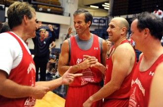 From left, then-Rep. Jeff Flake, R-Ariz., Sen. John Thune, R-S.D., Stern, and former Pelosi staffer Brendan Daly celebrate their victory after the 12th Annual Hoops for Hope basketball game where members of Congress defeated lobbyists 39-38 in a game for charity.  The game was played at George Washington University's Smith Center in 2010.  (Photo By Tom Williams/Roll Call via Getty Images)