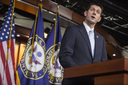 Ryan addresses reporters Tuesday evening on his impending run for speaker. (Al Drago/CQ Roll Call)